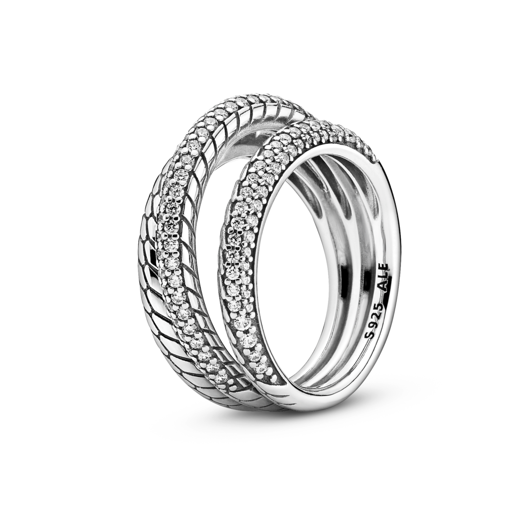 Pandora Sparkling Triple Band Ring with CZ Pave and Snake Chain Pattern in sterling silver