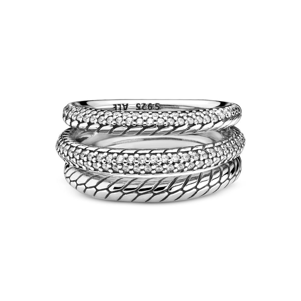 Front horizontal view of Pandora Sparkling Triple Band Ring with CZ Pave and Snake Chain Pattern in sterling silver, one band all snake chain patter, one pave with CZ and the last is half snake chain pattern with pave set CZs