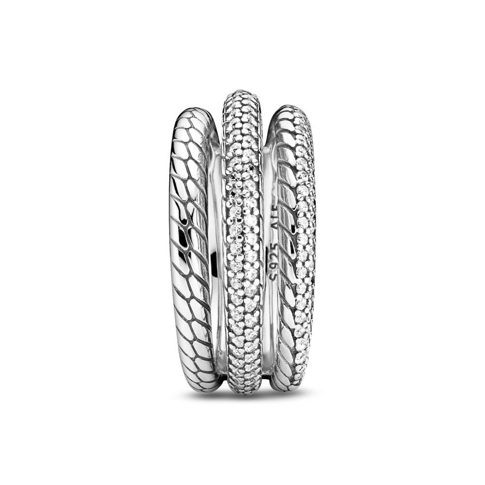 Front view of Pandora Sparkling Triple Band Ring with CZ Pave and Snake Chain Pattern in sterling silver, one band all snake chain patter, one pave with CZ and the last is half snake chain pattern with pave set CZs