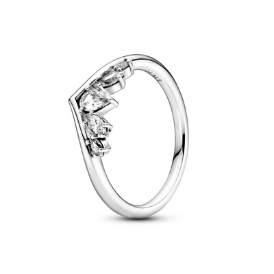 Pandora sparkling pear & marquise wishbone ring in polished sterling silver and clear cubic zirconia stones