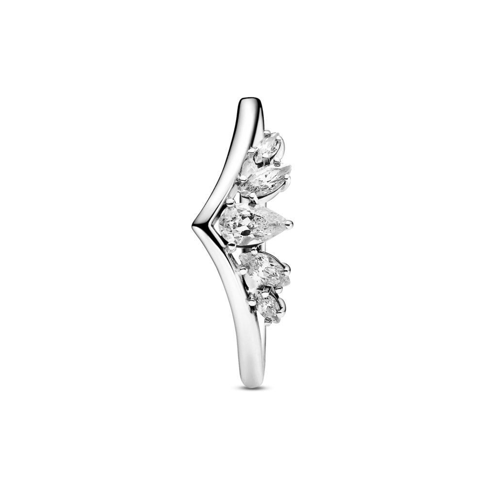 Top view of Pandora sparkling pear & marquise wishbone ring in polished sterling silver and clear cubic zircoina stones