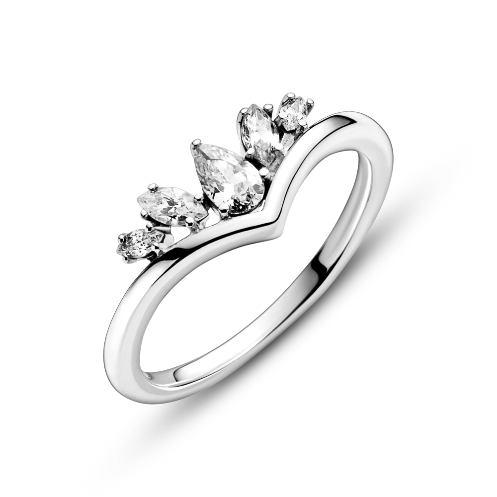 close up of Pandora sparkling pear & marquise wishbone ring in polished sterling silver and clear cubic zircoina stones