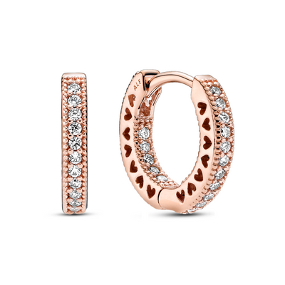 Small Pandora Rose CZ Pave Hoop Earrings with CZs on the outside and inside of the hoops and cut out hears on the sides with a hinge clasp