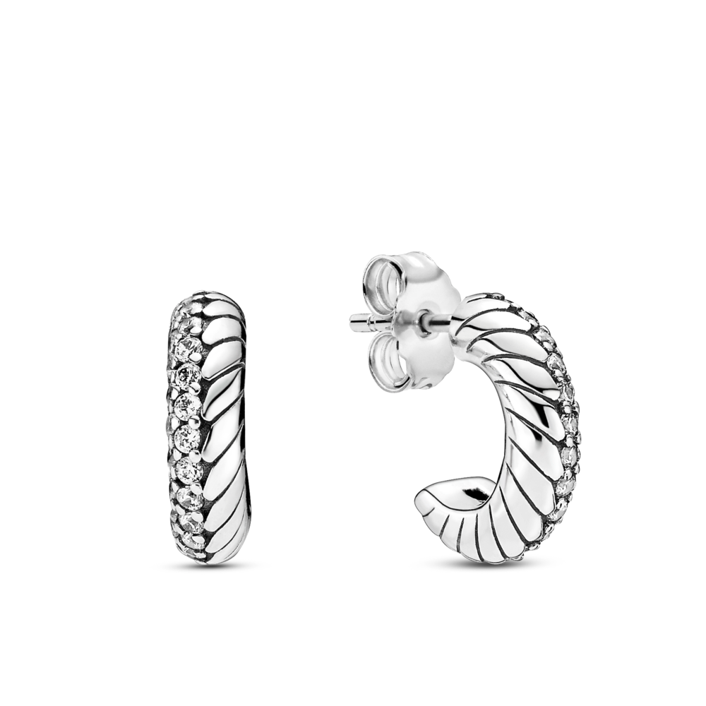 Pandora pave snake chain pattern half hoop stud earrings in sterling silver with clear czs