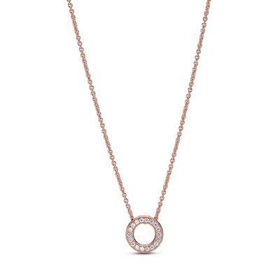Small Pandora Rose logo pave circle collier necklace with clear cubic zirconia chanel set along the circle with a curb link chain