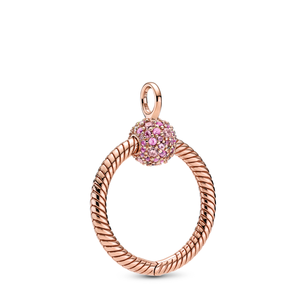 Pandora Rose Moments Small Pave O Pendant. Pink CZs on clasp and snake chain texture along pendant