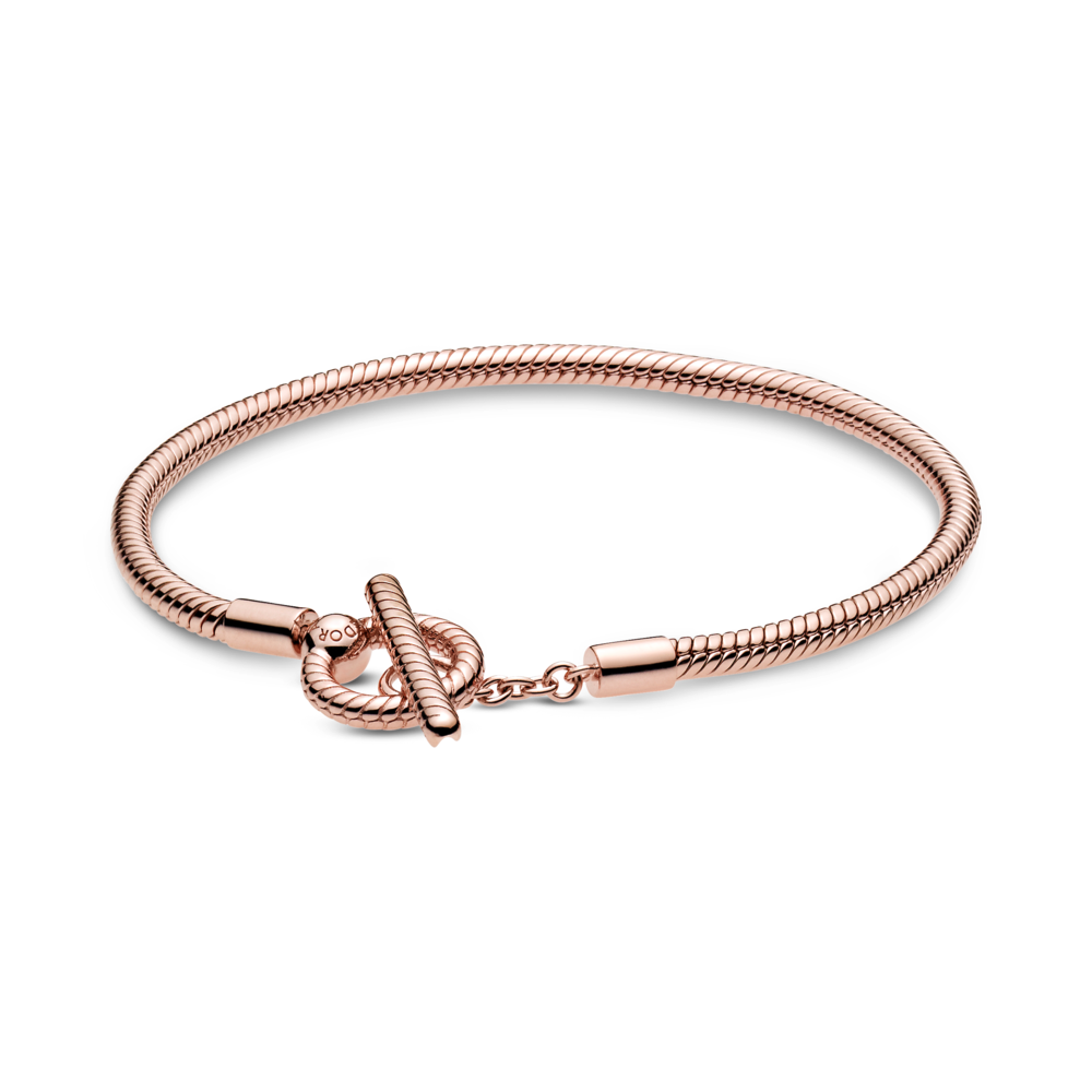 Pandora Rose Moments T-Bar clasp snake chain bracelet clasp is shown in the front of the bracelet