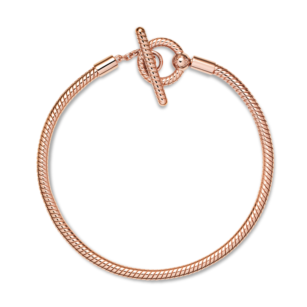 Flat lay overview of Pandora rose moments T-Bar Snake Chain Bracelet