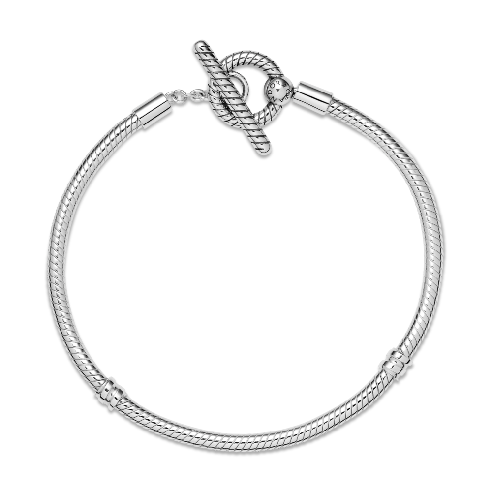 Top View of Pandora Moments T-bar snake chain clasp bracelet in sterling silver
