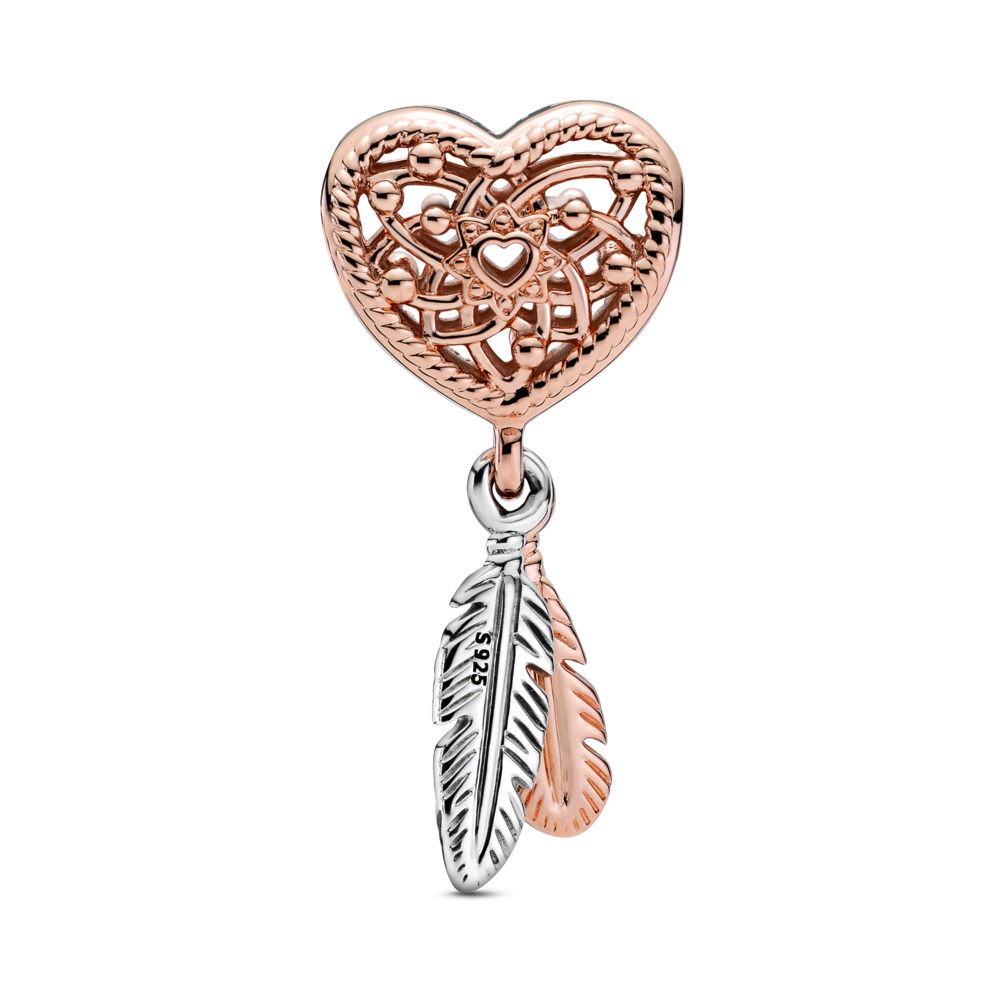 Back view of Pandora heart dream catcher charm in Pandora rose with 2 dangling feathers in Rose and sterling silver metals