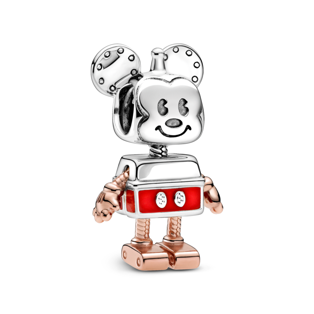 Disney x Pandora Robot Mickey Mouse Charm. Mickey transformed into a boxy robot character with an antenna on his a little antenna on  his head and a smile on his face. His body is in sterling silver with red enamel shorts and CZ buttons. His arms and legs are in Rose Gold.