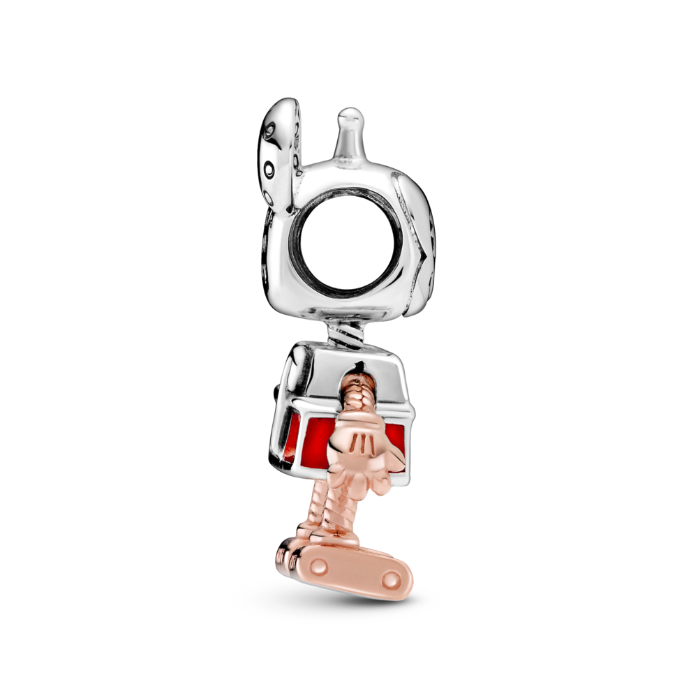 profile view of disney x pandora Mickey Mouse robot charm. highlights the 3d nature of his rose gold arm and gloved hand and his boxy foot.