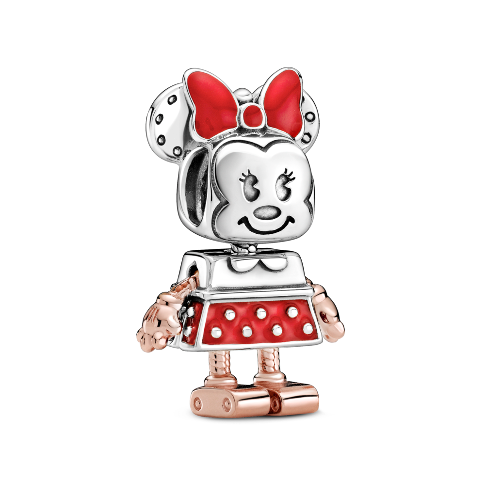 Disney x Pandora Robot Minnie  Mouse Charm. Minnie Mouse transformed into a boxy robot character with her signature red bow infront of round ears on her head and a smile on her face, with 3 eyelashes on each eye. Her body/ dress is a boxy sterling silver shirt with a red enamel and silver polka dot skirt. Her arms, hands, legs, and feet are in Rose Gold.