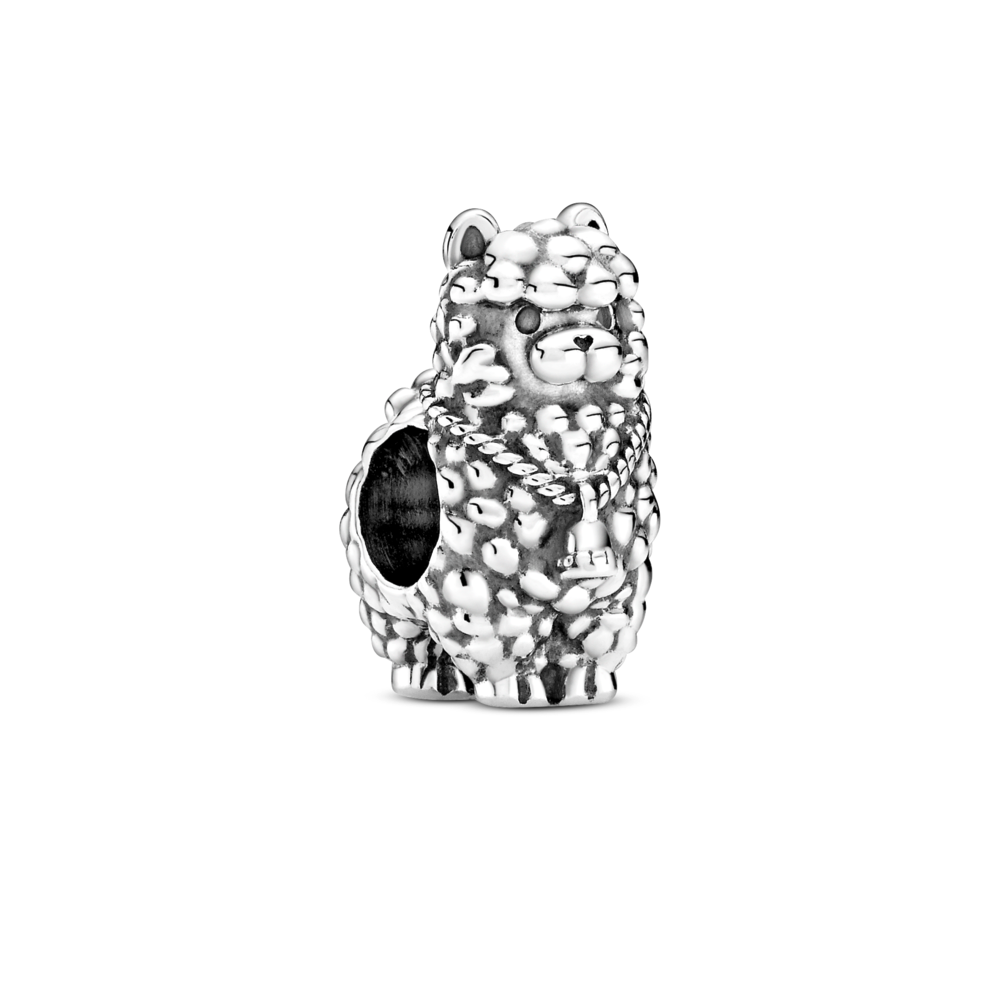 Pandora fluffy llama charm in sterling silver with a bell around its neck