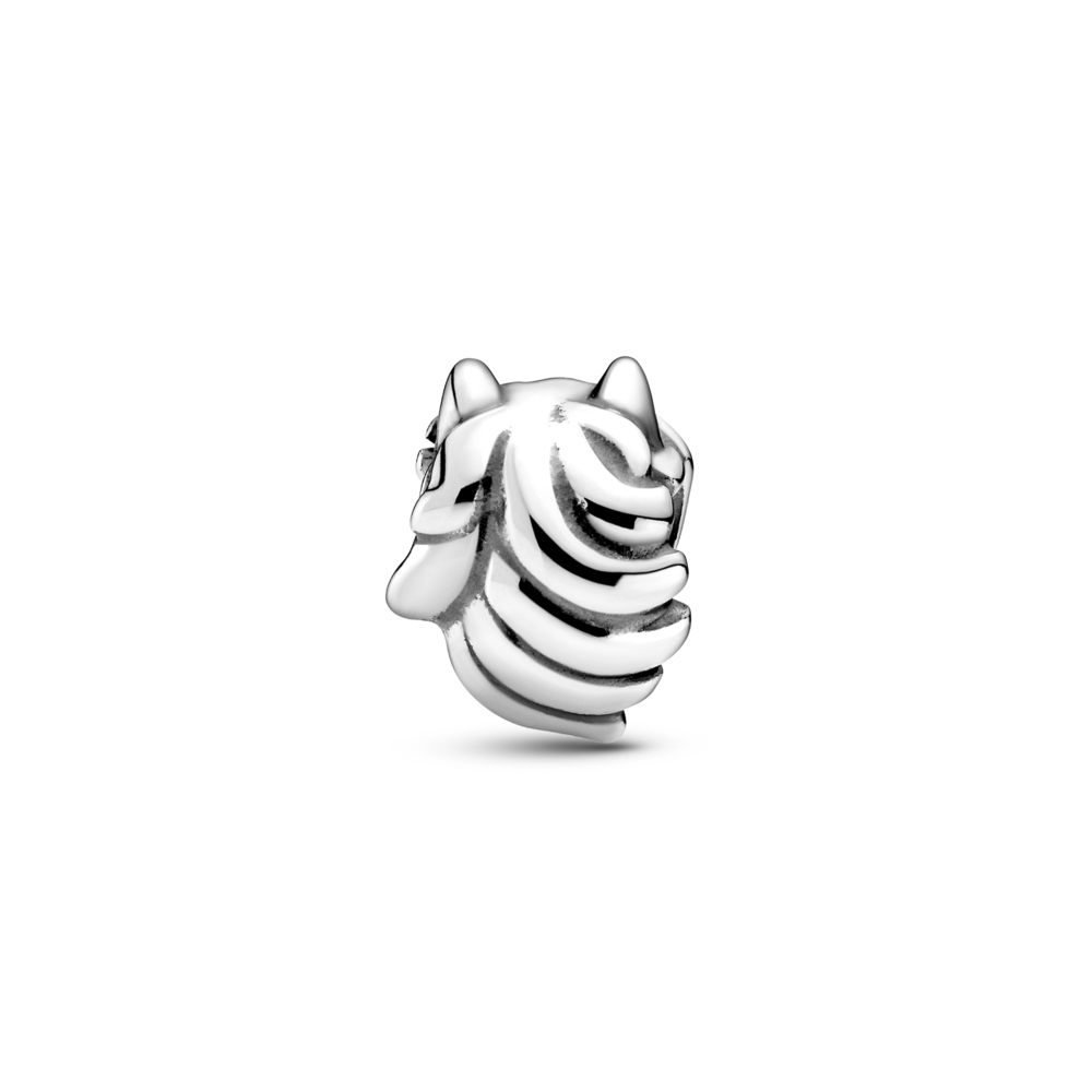 Pandora Horse Head charm in sterling silver. back view of the mane and pointed ears