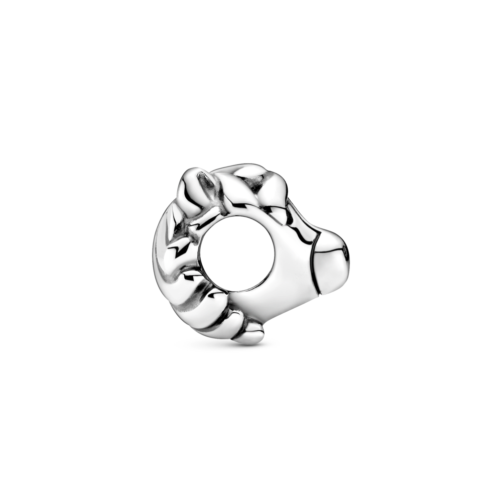 profile view of pandora horse head charm in sterling silver.  The snout and mane encircle the opening of the charm