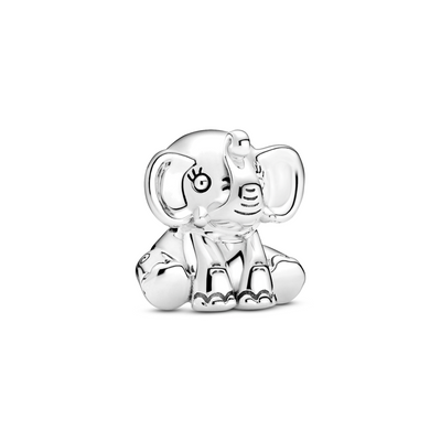 Pandora Ellie the Elephant charm in sterling silver. Ellie is sitting down facing forward with ears forward and trunk curled up. Her eyes have 3 girly eyelashes each.