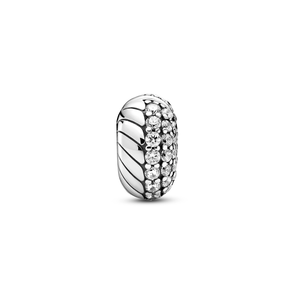 Front view of Pandora pave snake chain pattern clip charm in sterling silver with 3 different sizes of cubic zirconia stones