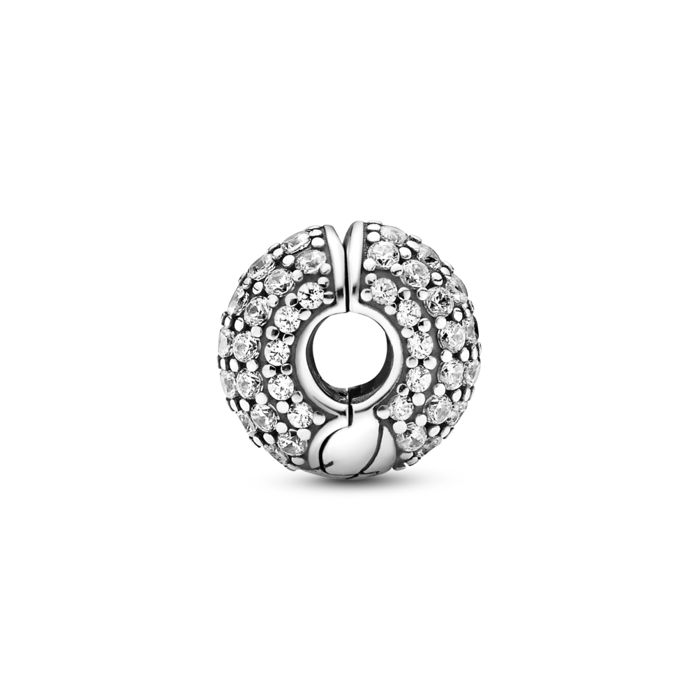 Profile view of Pandora pave snake chain pattern clip charm in sterling silver with 3 different sizes of cubic zirconia stones showcasing clip hinge opening
