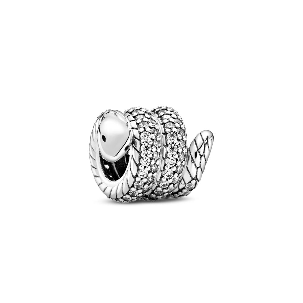 Pandora sparkling wrapped snake charm with smooth arrow tip like head, Pave CZ setting wrapped along exterior of snake, tail and interior snake chain pattern body