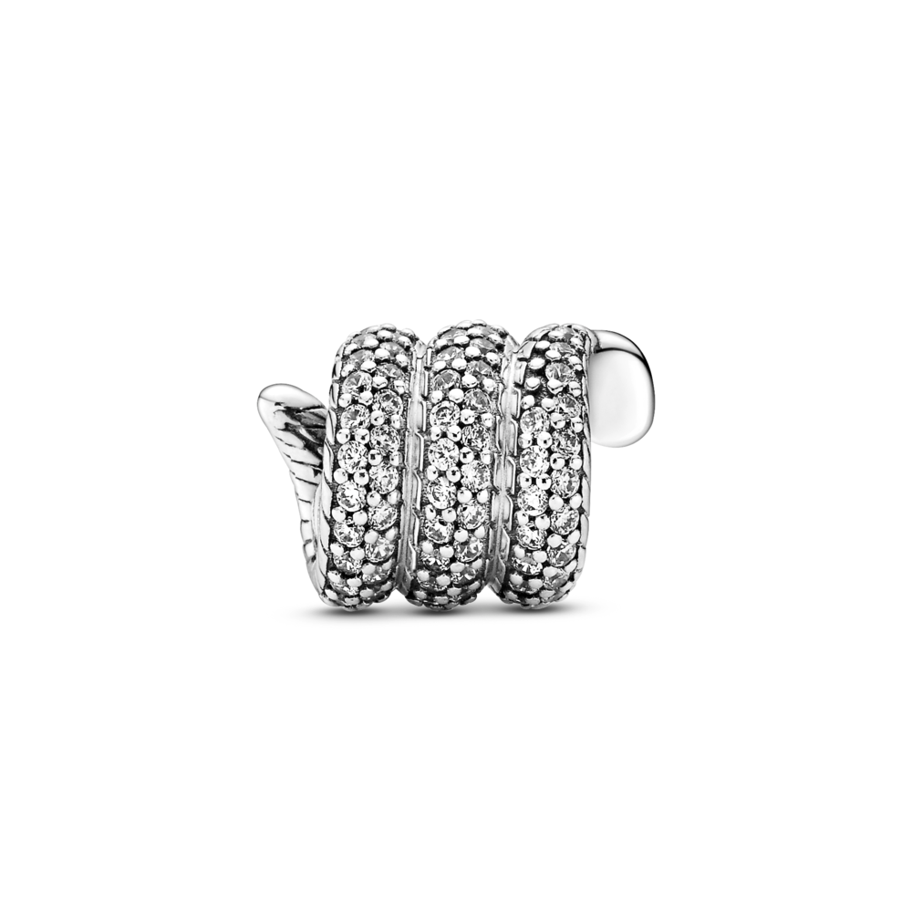 Back view of Pandora sparkling wrapped snake charm with smooth arrow tip like head, Pave CZ setting wrapped along exterior of snake, tail and interior snake chain pattern body