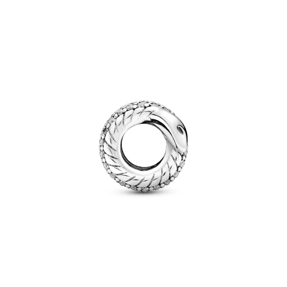 Profile view of Pandora sparkling wrapped snake charm with smooth arrow tip like head, Pave CZ setting wrapped along exterior of snake, tail and interior snake chain pattern body
