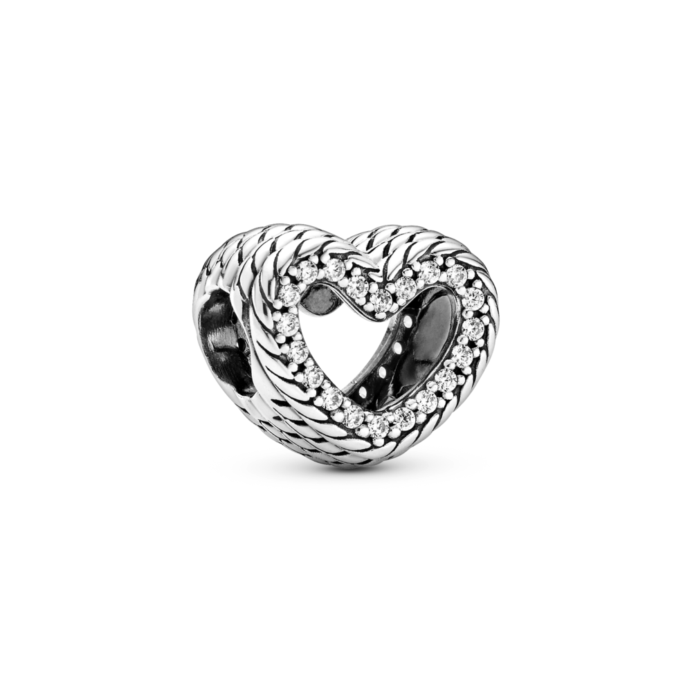 angled view of Pandora snake chain pattern open heart charm in sterling silver with pave setting of cubic zirconia around opening of heart
