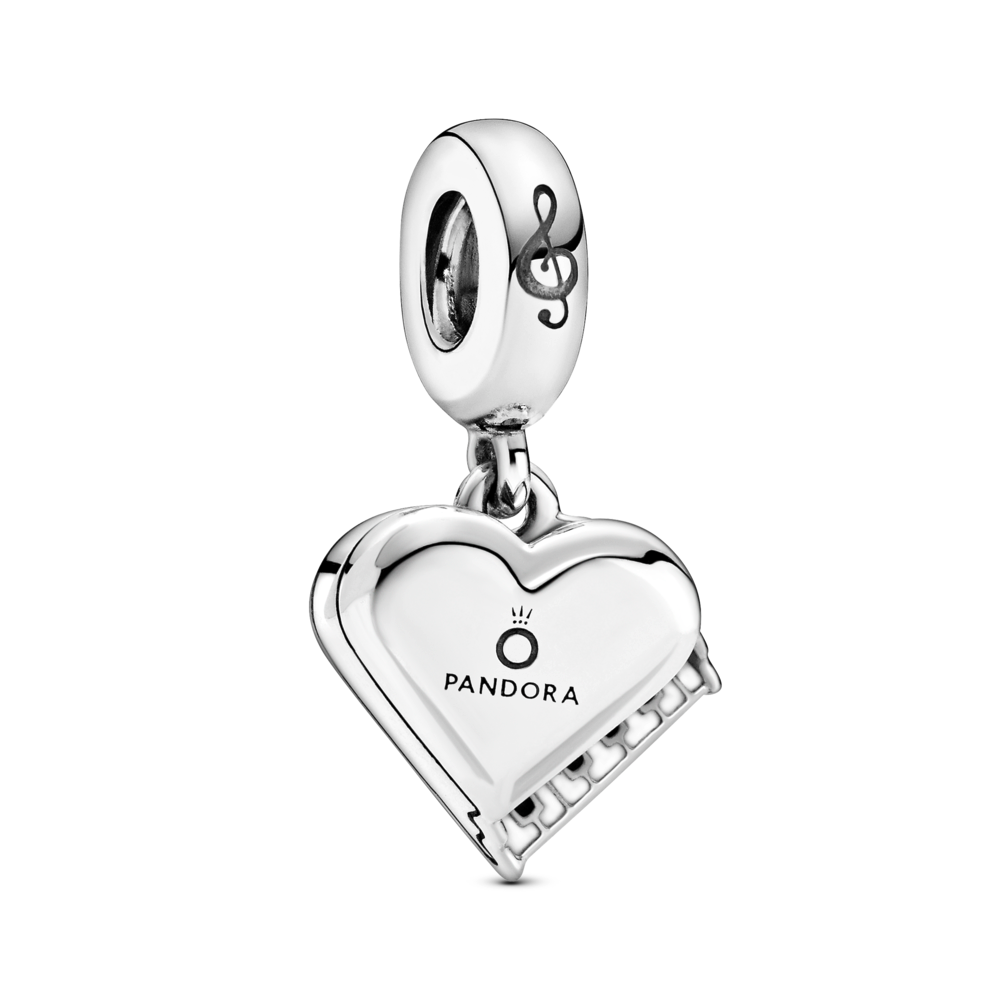 Pandora Grand Piano Heart dangle charm in sterling silver. The treble cleff is engaved on the bale, Pandora and ) crown on top of the heart lid of the piano, and black and white enamel keys