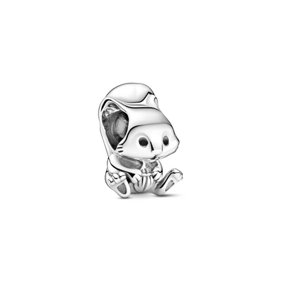 Pandora Cute Squirrel Charm in sterling silver with black enamel eyes sitting down holding an acorn with hearts on its feet