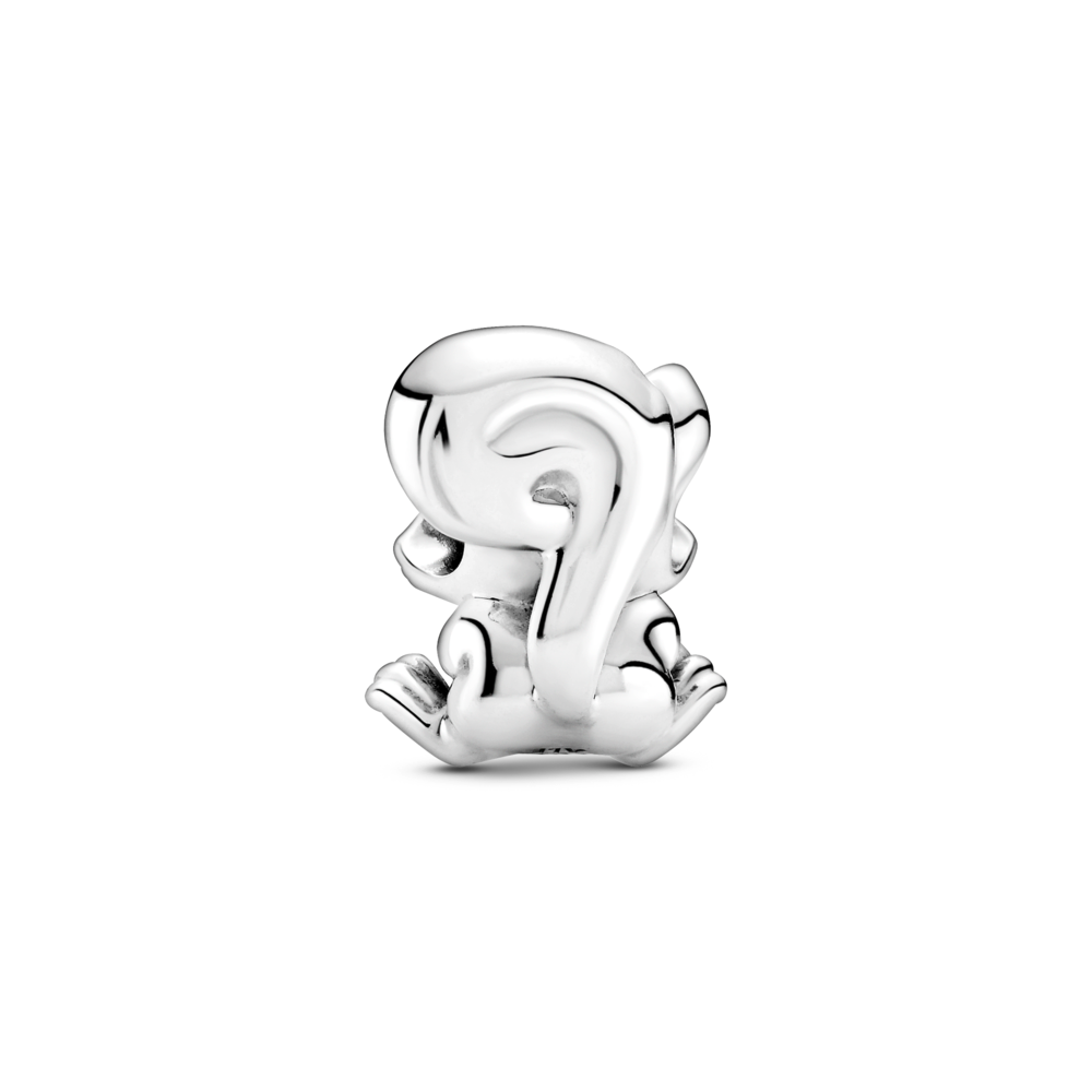 back view of Pandora Cute Squirrel Charm in sterling silver, showcasing long swirly tail against squirrels back and head