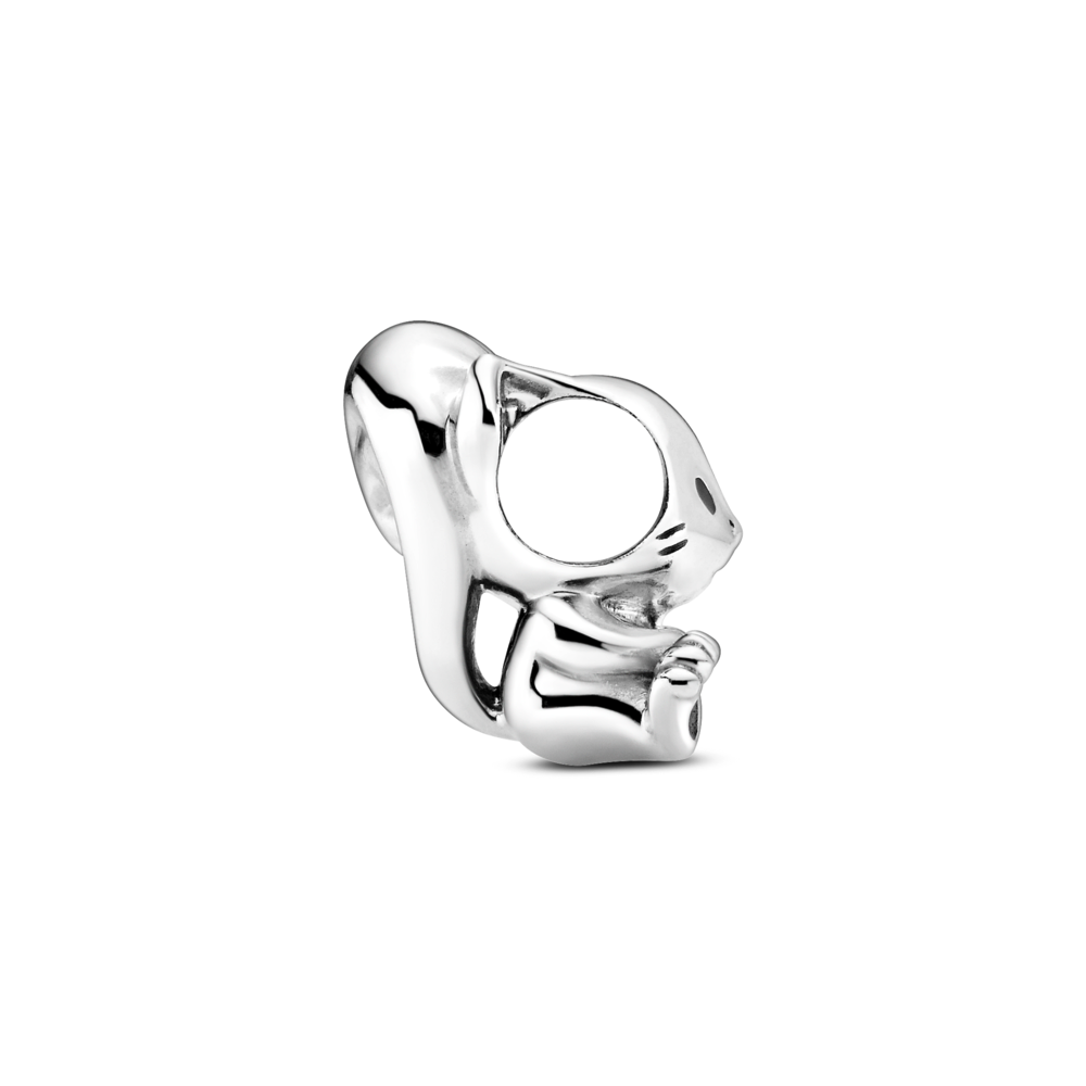 profile view of Pandora Cute Squirrel charm in sterling silver.