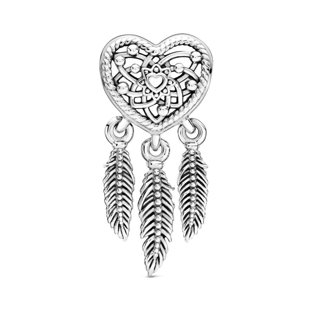 Front view of Pandora Heart Dream catcher charm with 3 feather dangles in sterling silver