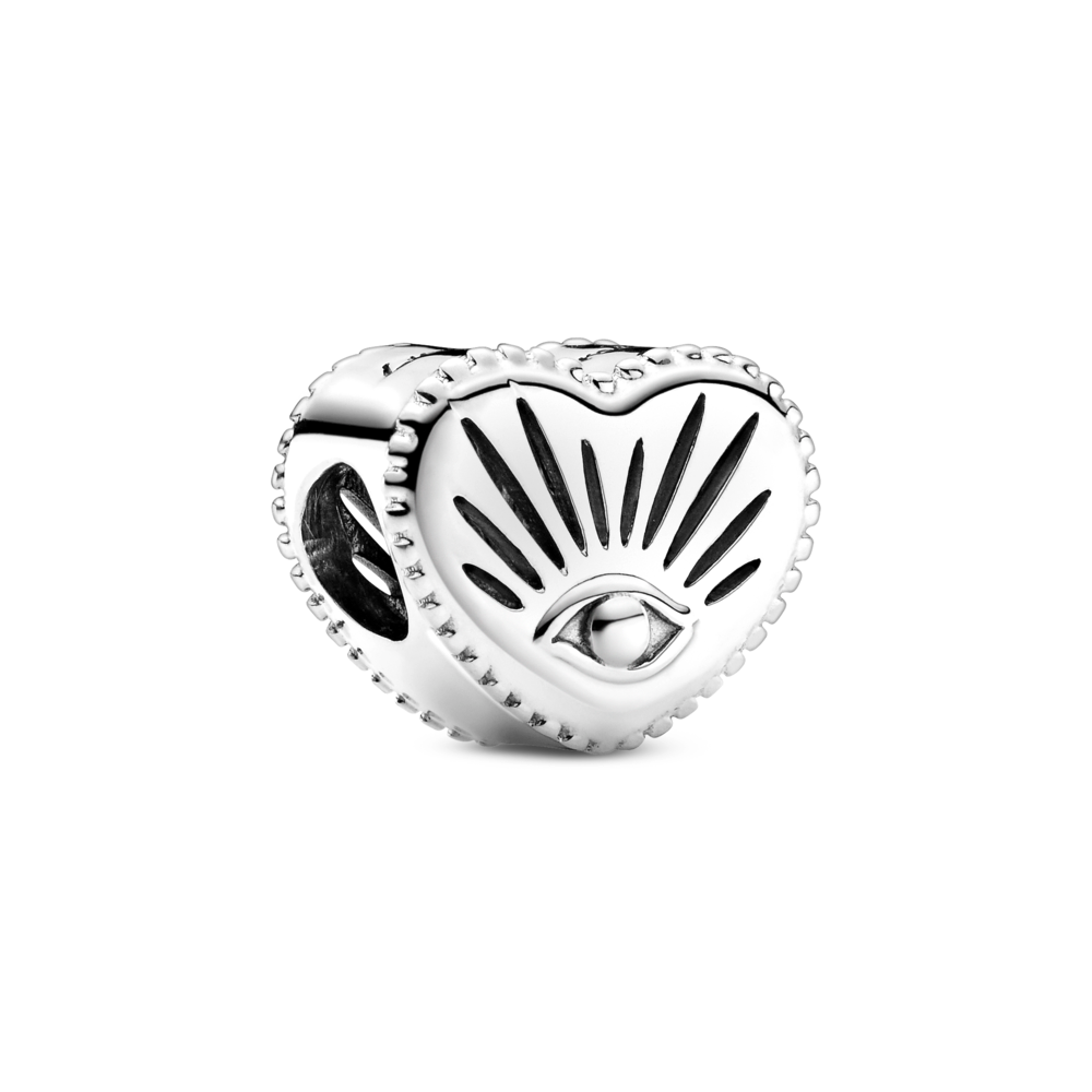 Pandora All-seeing Eye heart shaped charm in sterling silver.