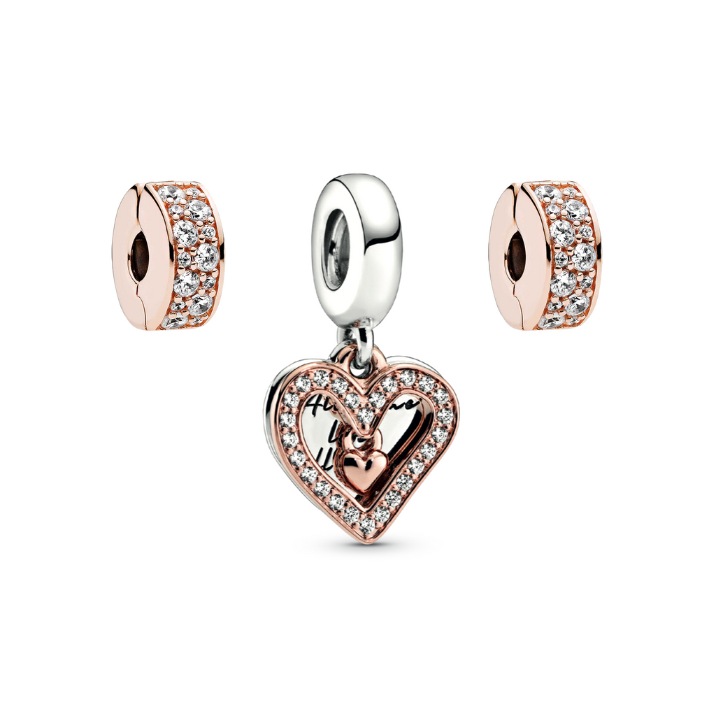 "Pandora All My Love Charm Gift Set in Sterling Silver and Pandora Rose with sparkling czs.  The Centerpiece is engraved ""All of me loves all of you""."