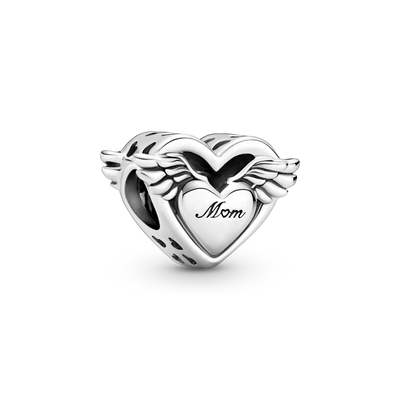 "Pandora Angel Wings & Mom Charm in sterling silver.  The  Oepnwork charm has a heart framing a Heart with wings. ""Mom"" with a heart for the o is engraved on the front."