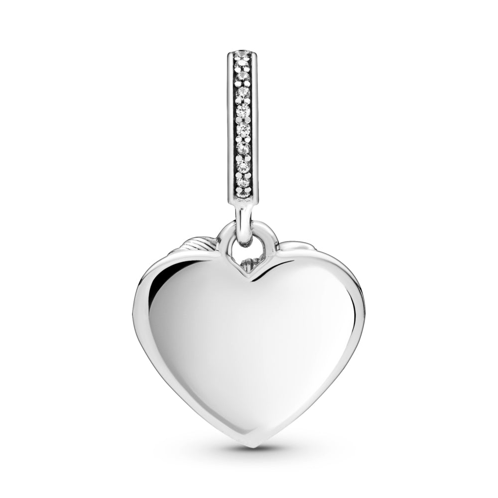 Back side of Pandora Bow & Love Heart Dangle Charm. Hand-finished in sterling silver with a line of sparkling stones featured on the bail