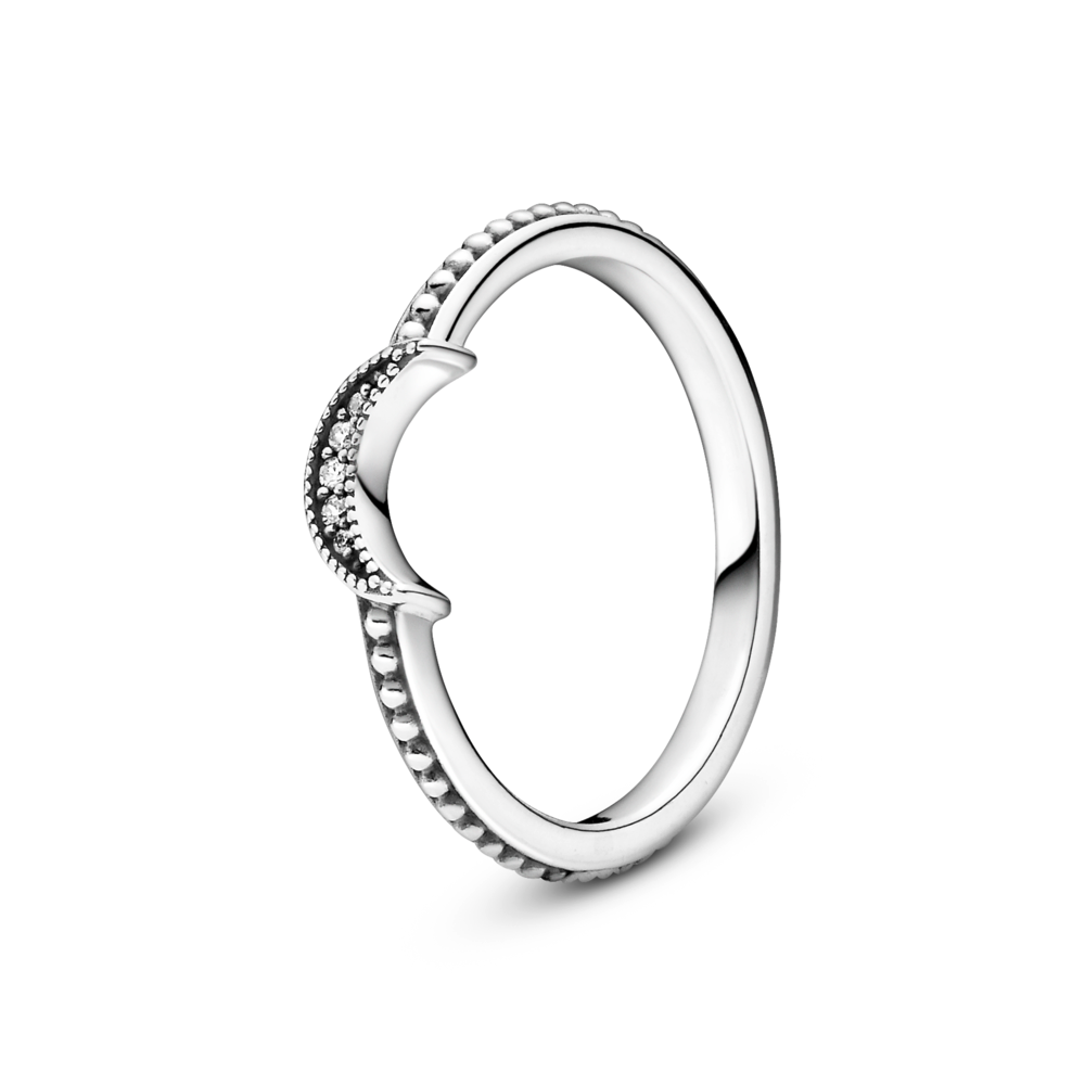Pandora Crescent Moon beaded ring in sterling silver. Crescent Moon has 3 CZz and the side of the ring has a smooth finish.