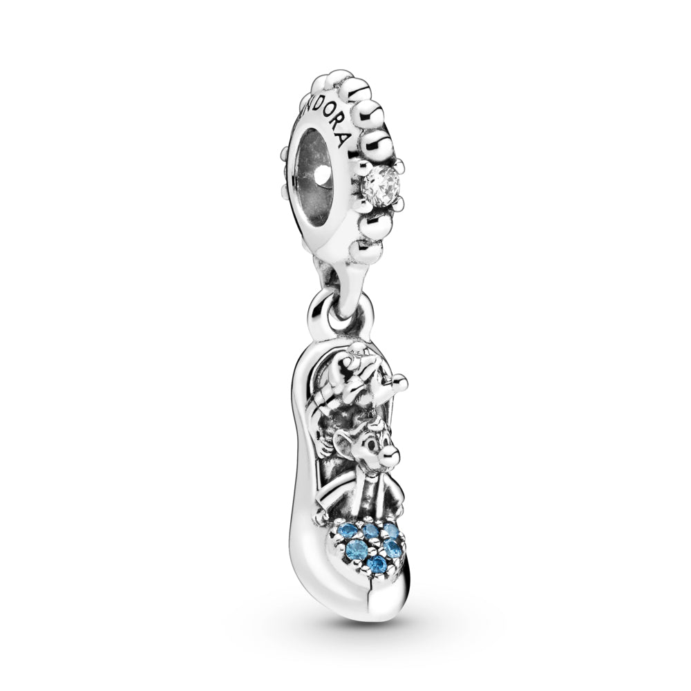 Pandora Disney Cinderella Glass Slipper & Mice Dangle Charm. This shoe-shaped charm in sterling silver features her sidekicks Gus and Jaq. The mice are nestled inside the shoe which includes a heart-shaped cluster of blue stones on the tip and a polished sole. Finished with a beaded bail with sparkling clear stones.