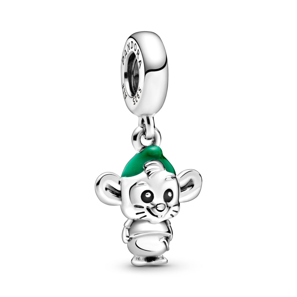 Disney x Pandora Cinderella Gus Mouse Dangle Charm. Hand-finished in sterling silver, the design features hand-applied black enamel eyes, a short T-shirt, grooved whiskers, a tail, large ears and hair coming out from under a hat decorated with hand-applied green enamel.