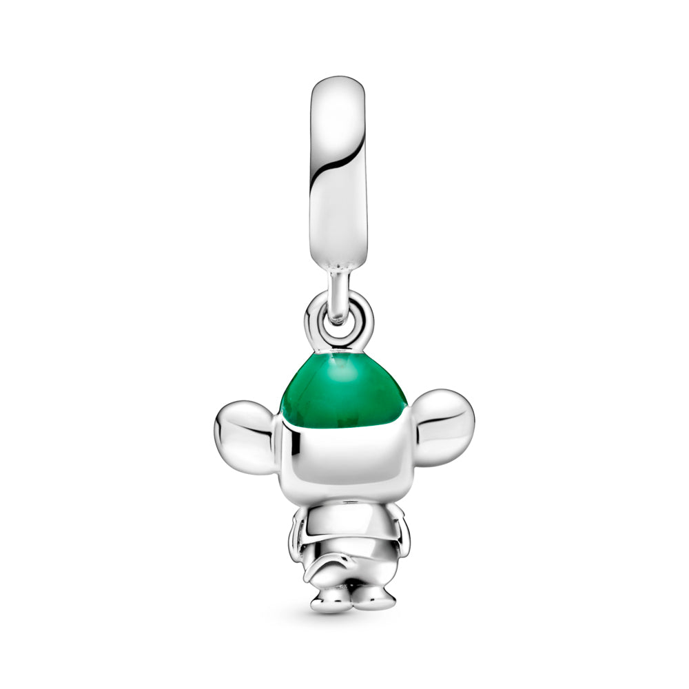 Back side of Disney x Pandora Cinderella Gus Mouse Dangle Charm. Hand-finished in sterling silver, the design features hand-applied black enamel eyes, a short T-shirt, grooved whiskers, a tail, large ears and hair coming out from under a hat decorated with hand-applied green enamel.