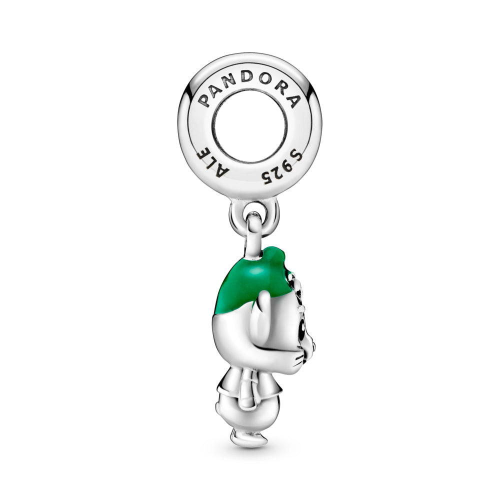 Profile View of Disney x Pandora Cinderella Gus Mouse Dangle Charm. Hand-finished in sterling silver, the design features hand-applied black enamel eyes, a short T-shirt, grooved whiskers, a tail, large ears and hair coming out from under a hat decorated with hand-applied green enamel.