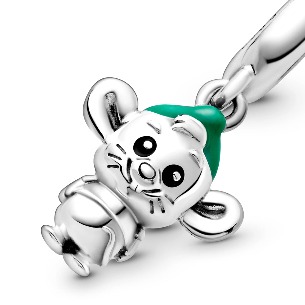Close Up of Disney x Pandora Cinderella Gus Mouse Dangle Charm. Hand-finished in sterling silver, the design features hand-applied black enamel eyes, a short T-shirt, grooved whiskers, a tail, large ears and hair coming out from under a hat decorated with hand-applied green enamel.