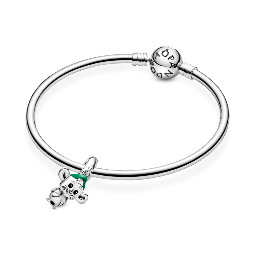 Disney x Pandora Cinderella Gus Mouse Dangle Charm featured on smooth Pandora Moments bangle bracelet. Hand-finished in sterling silver, the design features hand-applied black enamel eyes, a short T-shirt, grooved whiskers, a tail, large ears and hair coming out from under a hat decorated with hand-applied green enamel.