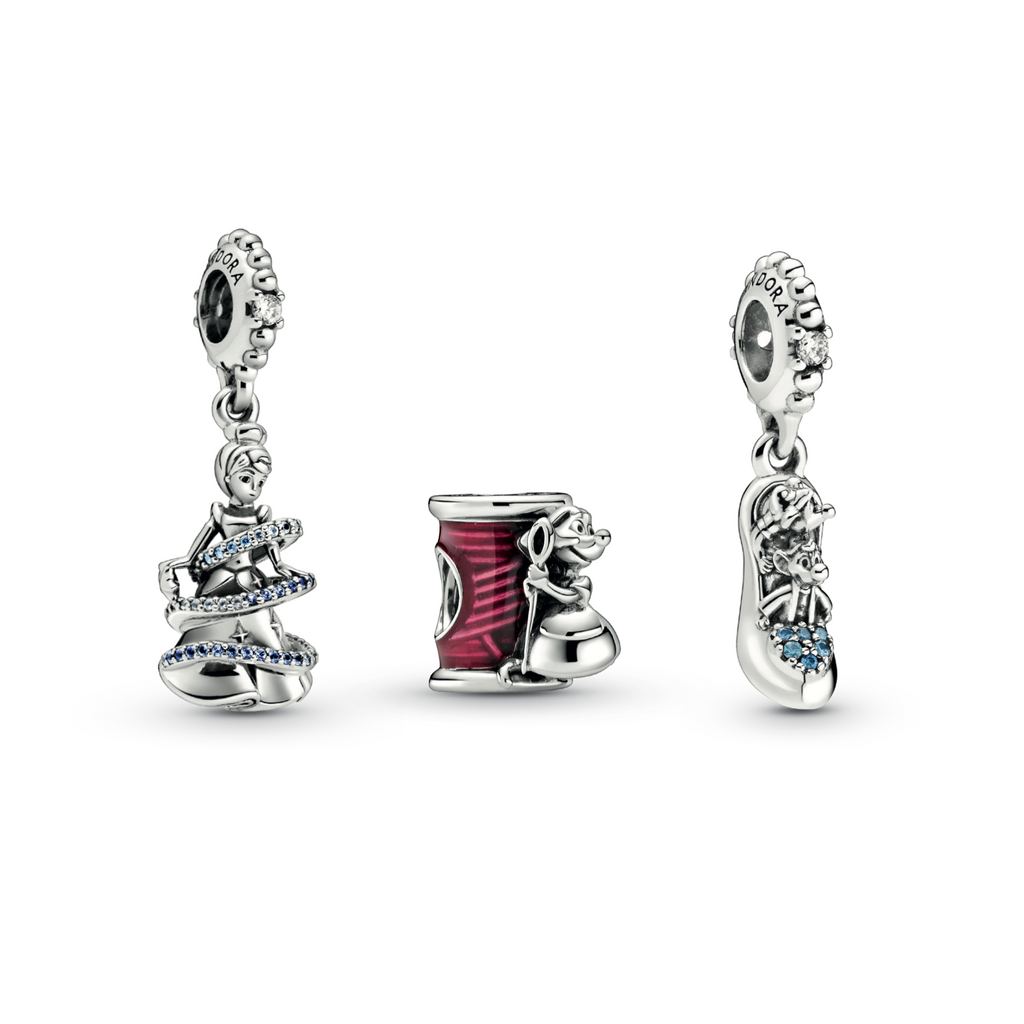 Pandora Disney Cinderella Magical Moment Charm Gift Set: Disney Cinderella Magical Moment Dangle Charm, Disney Cinderella Suzy Mouse Needle & Thread Charm, and Disney Cinderella Glass Slipper & Mice Dangle Charm in sterling silver. with Pink Enamel and Blue CZs.
