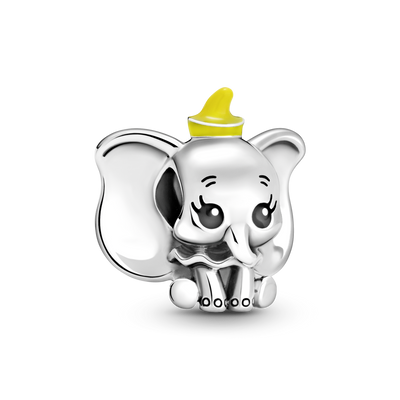 Pandora x Disney Dumbo Charm in sterling silver with yellow enamel hat and black enamel eyes, and toenails.
