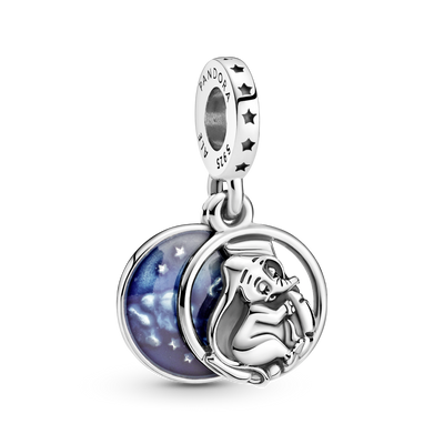 Pandora x Disney Dumbo Sweet Dreams Dangle Charm in sterling silver with blue enamel sky in the background.