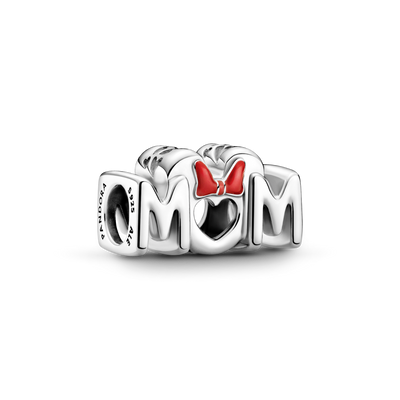 "Pandora x Disney Minnie Mouse Bow & Mom Charm in Sterling Silver. The letters MOM are spelled out with a heart shape for the ""O"" and Minnie Mouse Red enamel bow above the heart."
