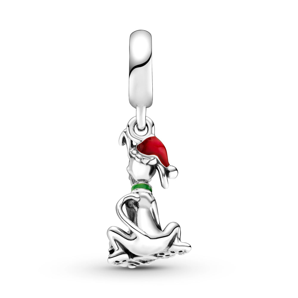 backside of Pandora Disney Pluto Christmas Gift Charm in sterling silver. Pluto is sitting with his tongue out in front of a red present with a bow, wearing a green collar, and a red Christmas hat. The silhouette of Mickey Mouse is featured on the bail with a stone set in the center.
