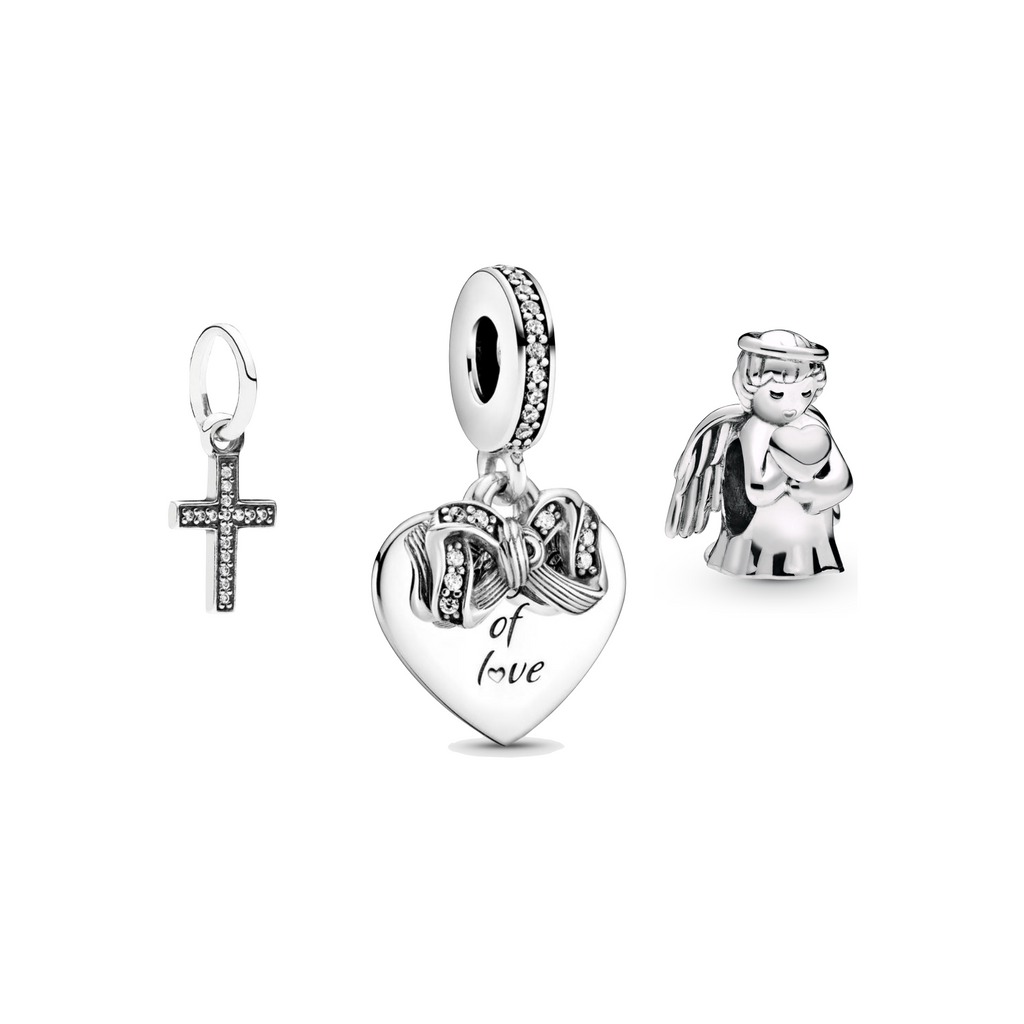 Pandora Faith Hope and Love Charm Gift Set in sterling silver with sparkling CZs.  The 3 piece set includes the Symbol of Faith Cross dangle charm, Gift of Love Heart Dangle Charm, & Angel of Love Charm.