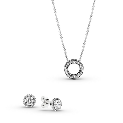The Forever & Always Jewelry Gift Set features the Classic Elegance Stud Earrings and Small Hearts of Pandora Necklace.